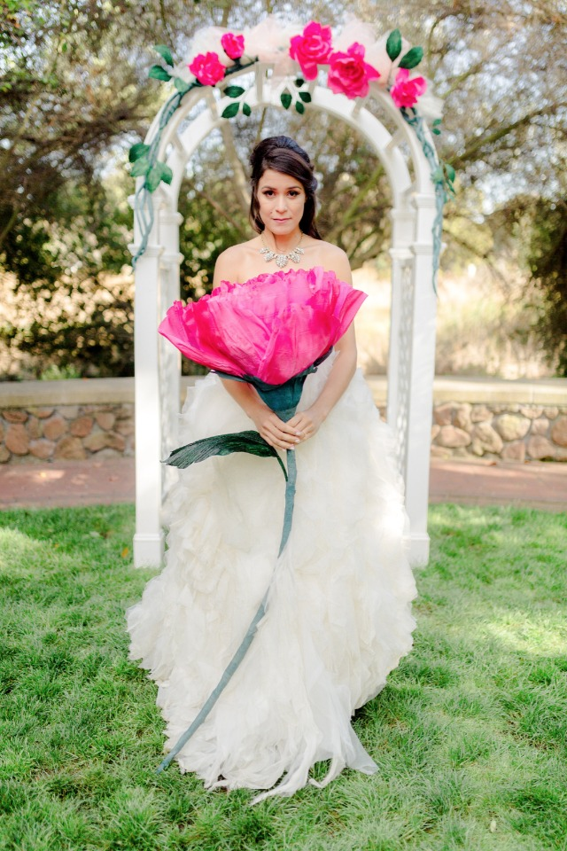 giant pink paper flower for the bride