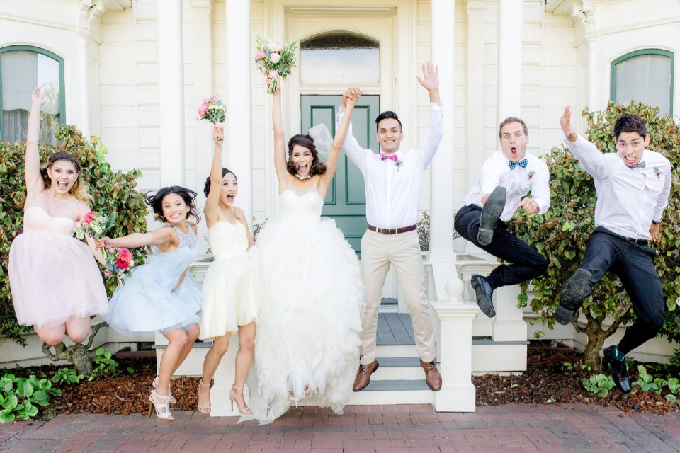 wedding party jumping for joy!