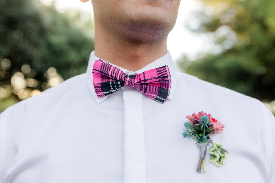 hot pink plaid bow tie