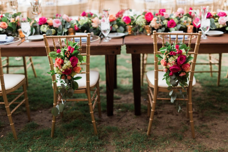 Floral back chairs