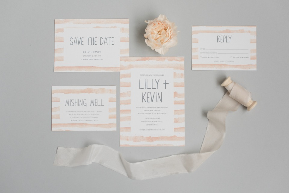 LILLY + KEVIN Polka Dot Paper Wedding Invitation