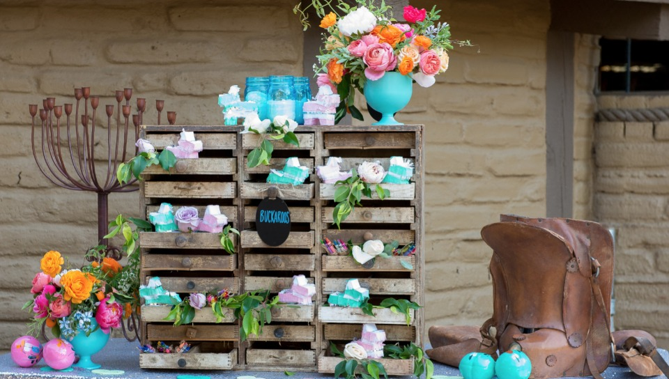 Wedding station for the kids with mini piñatas