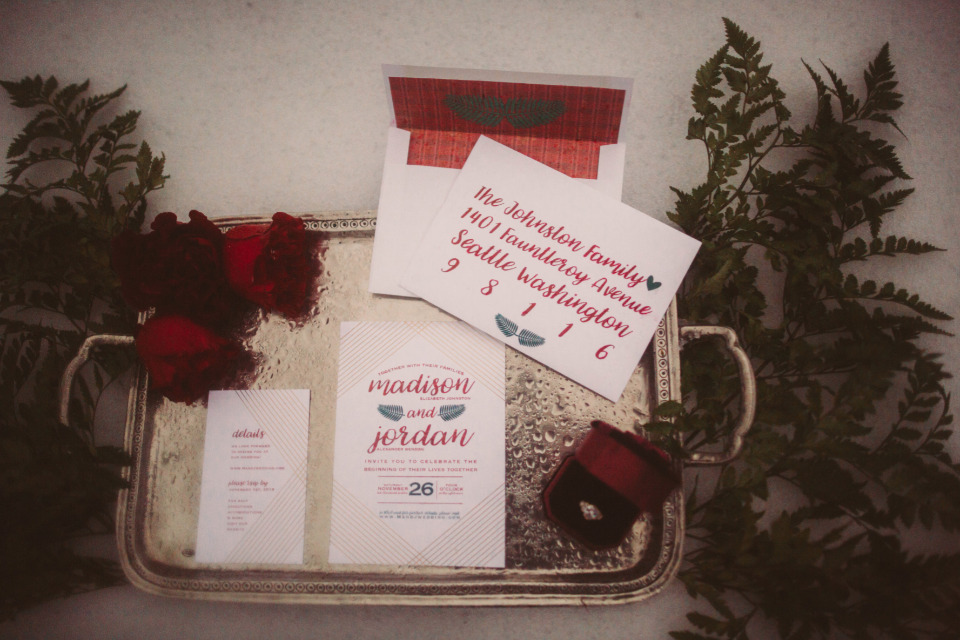 red green and gold winter wedding stationery