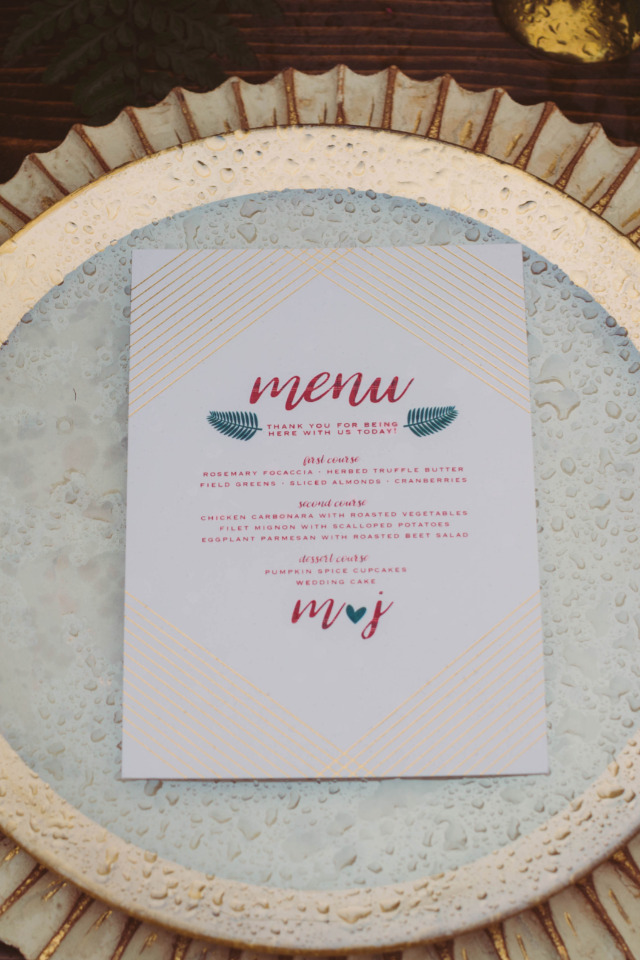 red green and gold wedding menu