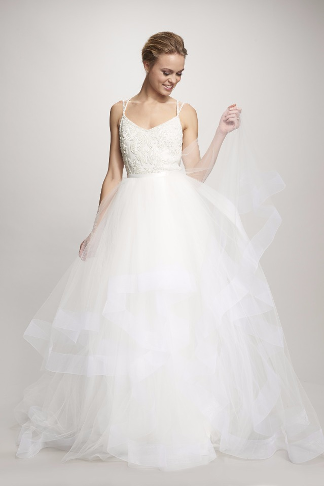 classic ruffled wedding dress from THEIA