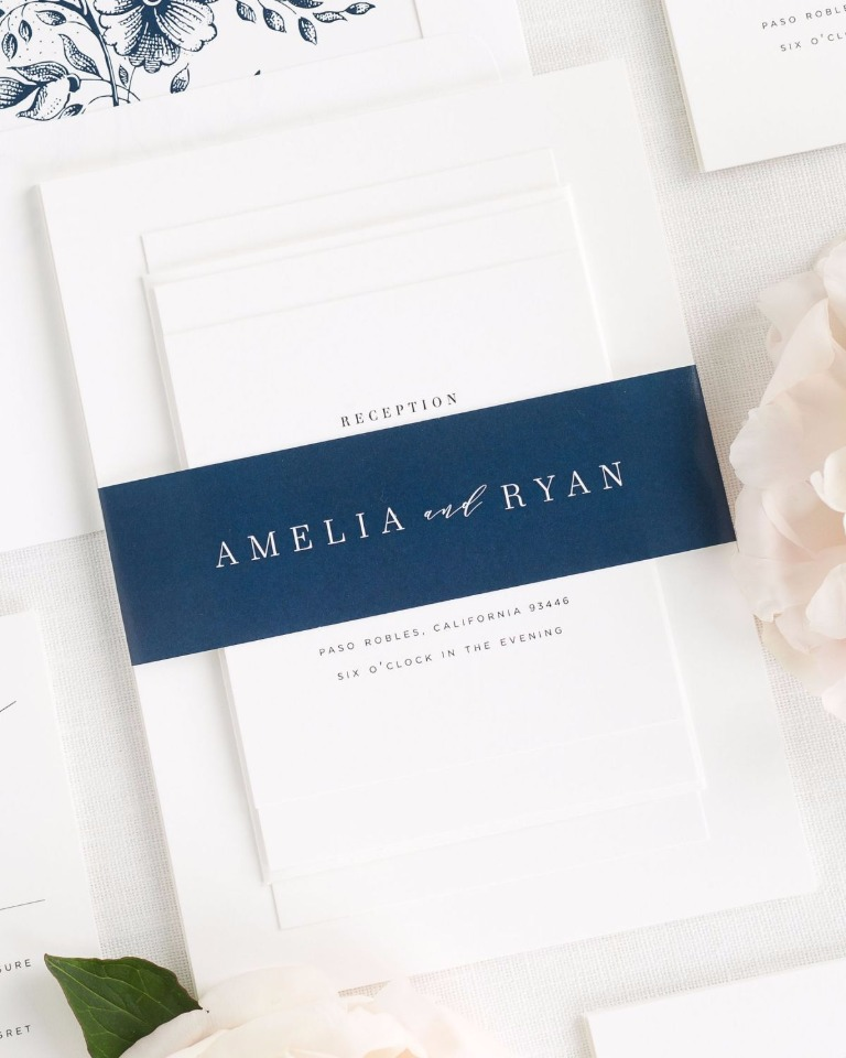 Amelia wedding invitations with belly band
