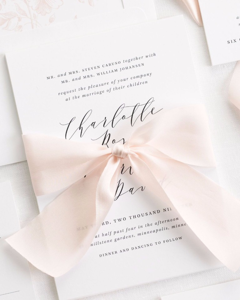 Charlotte wedding invite with pink ribbon