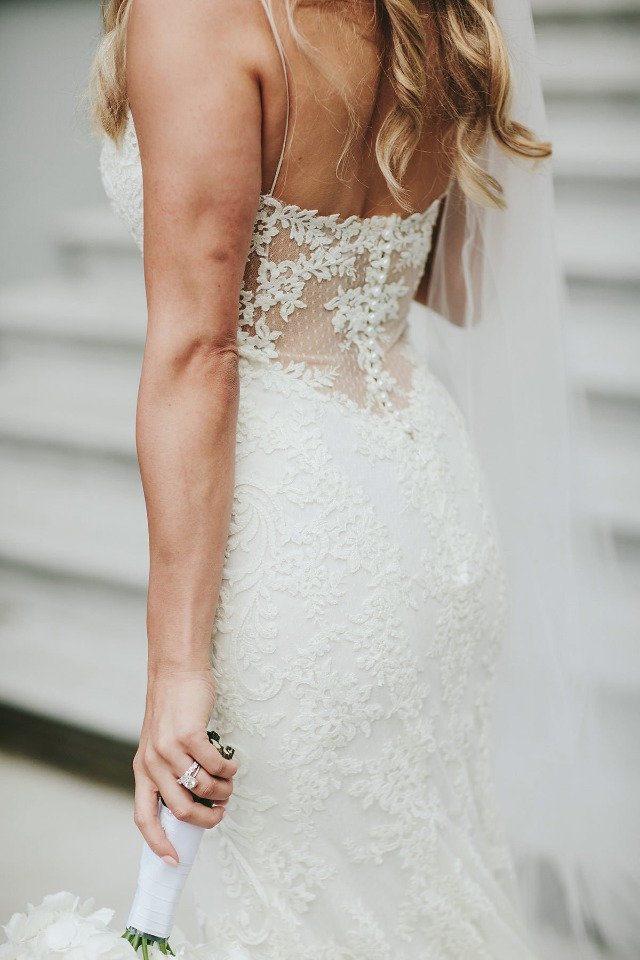 Sheer lace back dress