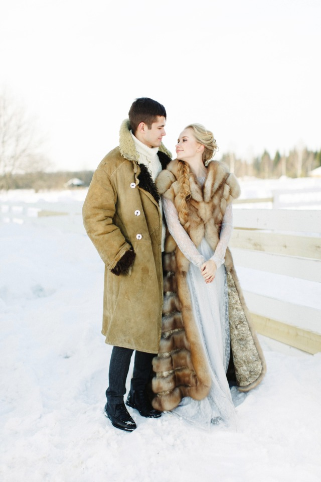 winter bride and groom outfits