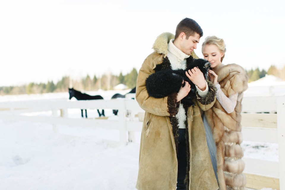 winter farm wedding couple