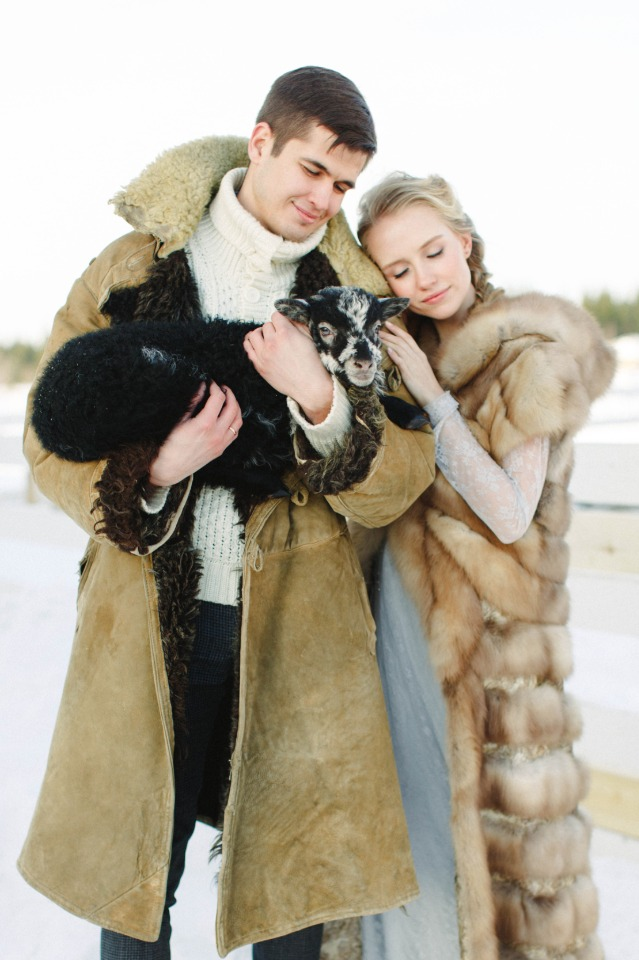 Winter in Russia wedding couple