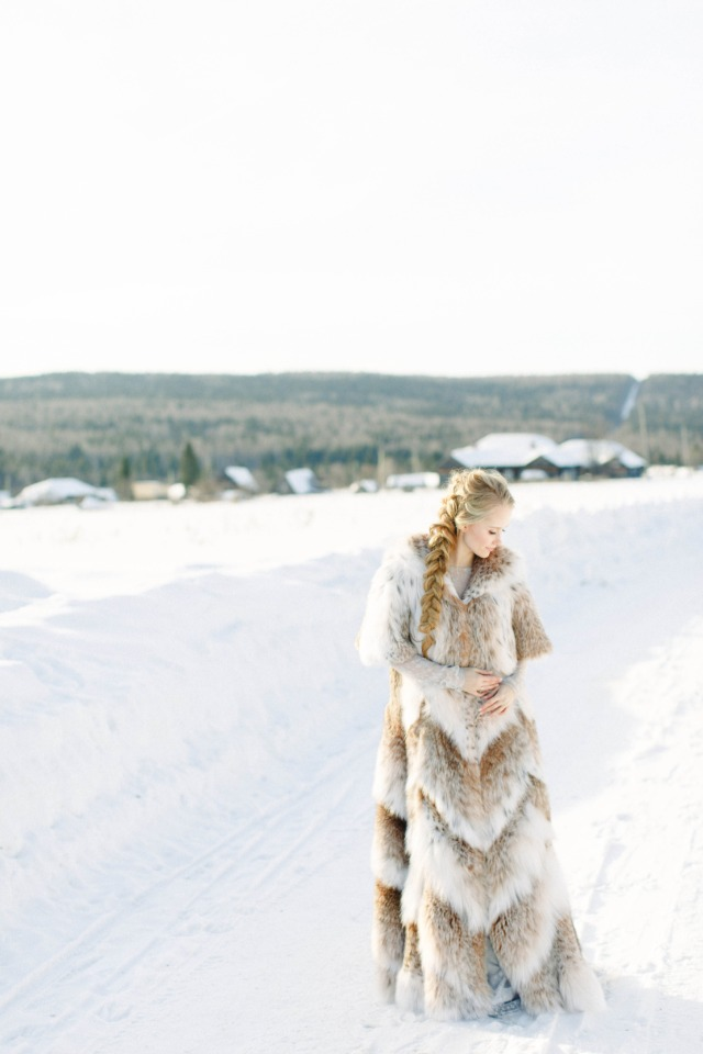 full length fur coat bride