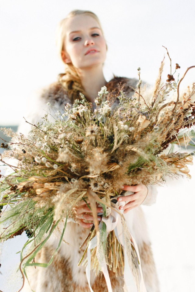 dried flower winter wedding bouquet