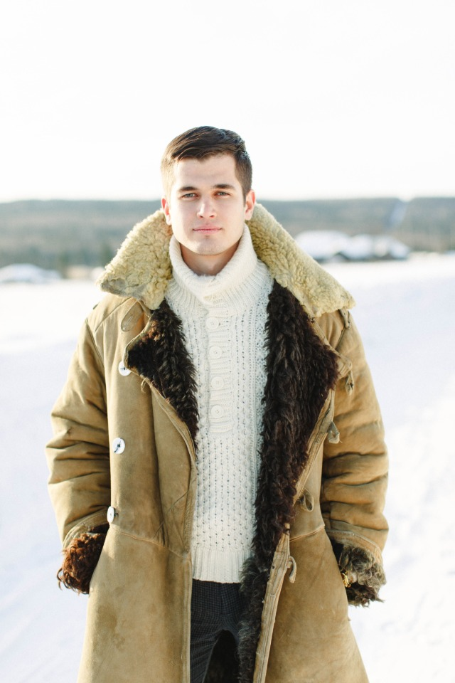handsome rugged groom outfit for winter wedding