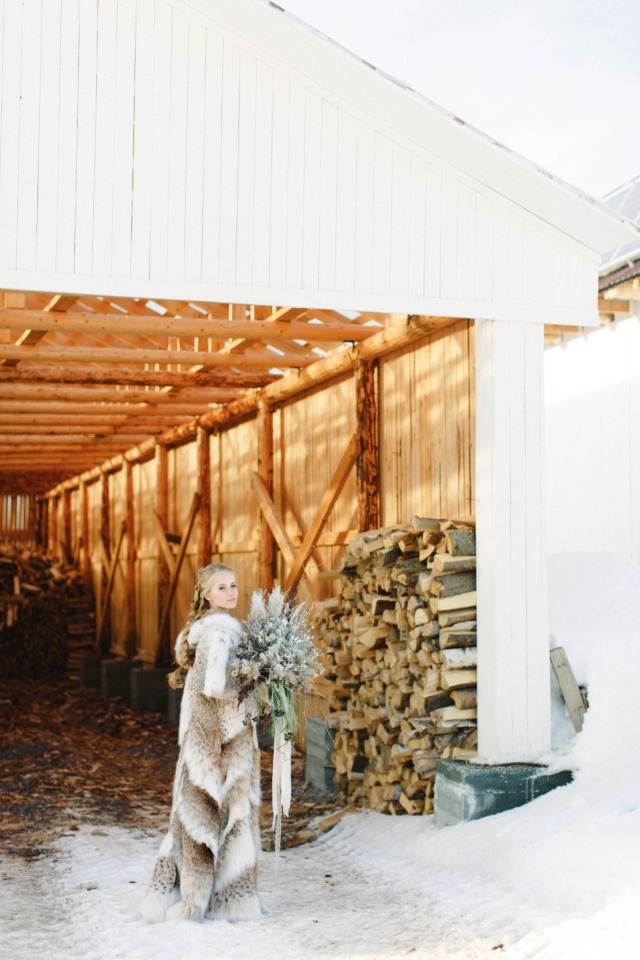 rustic winter bridal style