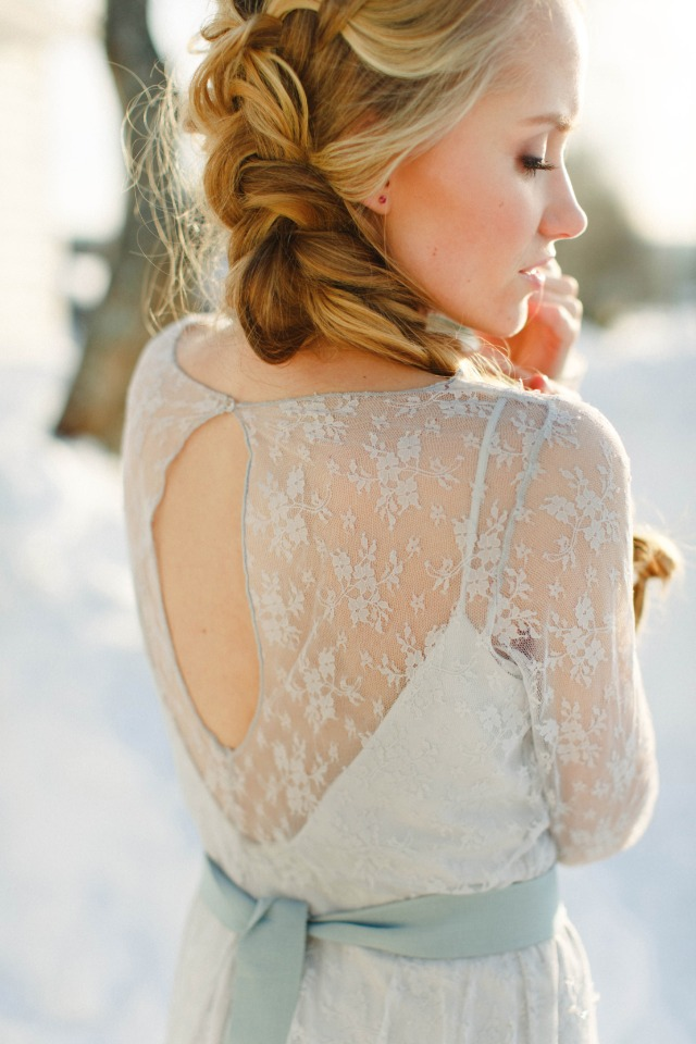 soft blue winter wedding gown