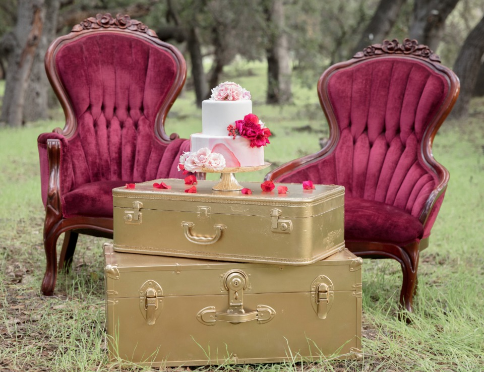 pink gold and red wedding decor