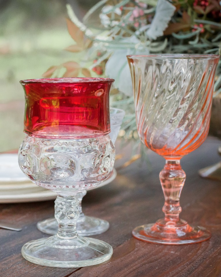 pink and red wedding glasses