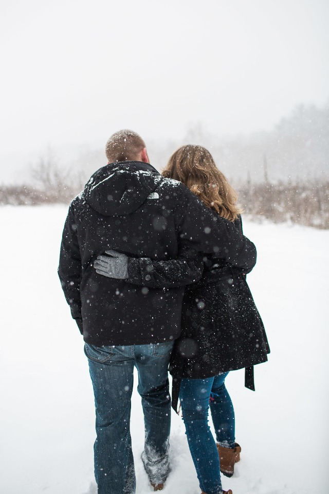 winter walk engagement shoot idea