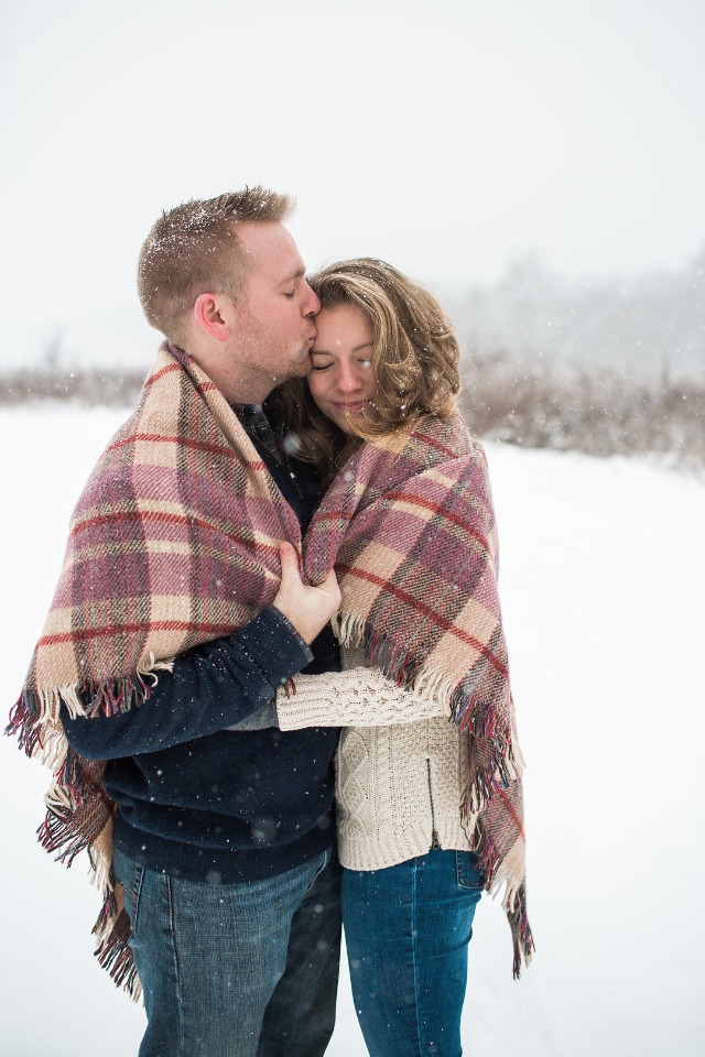 cozy snow day engagement shoot