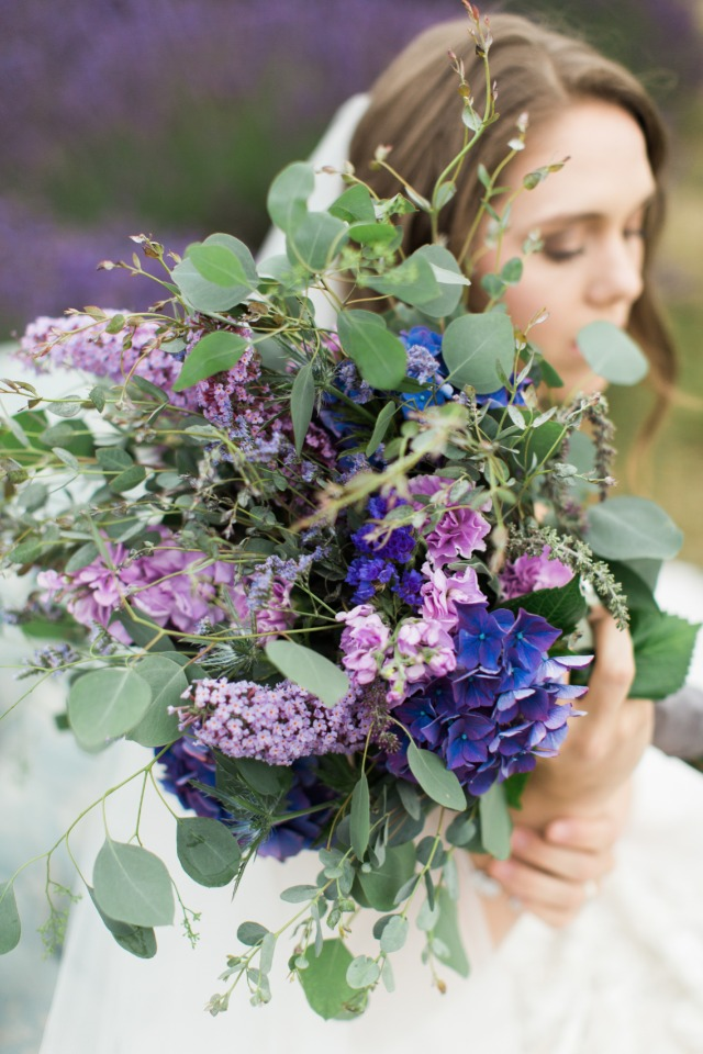 varying tones of purple bouquet