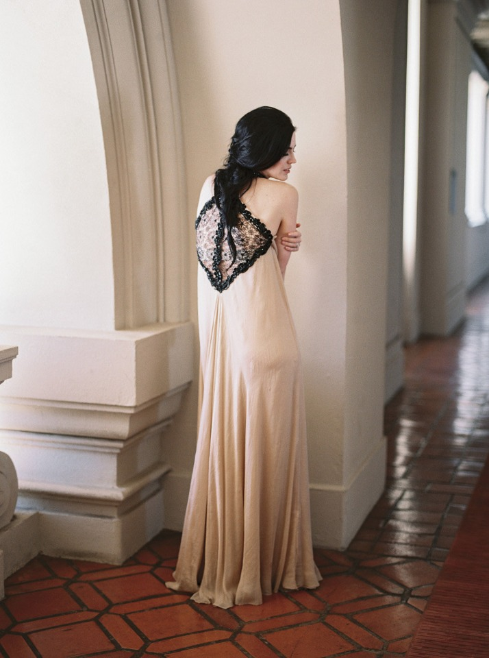 Silk dress with back lace detail