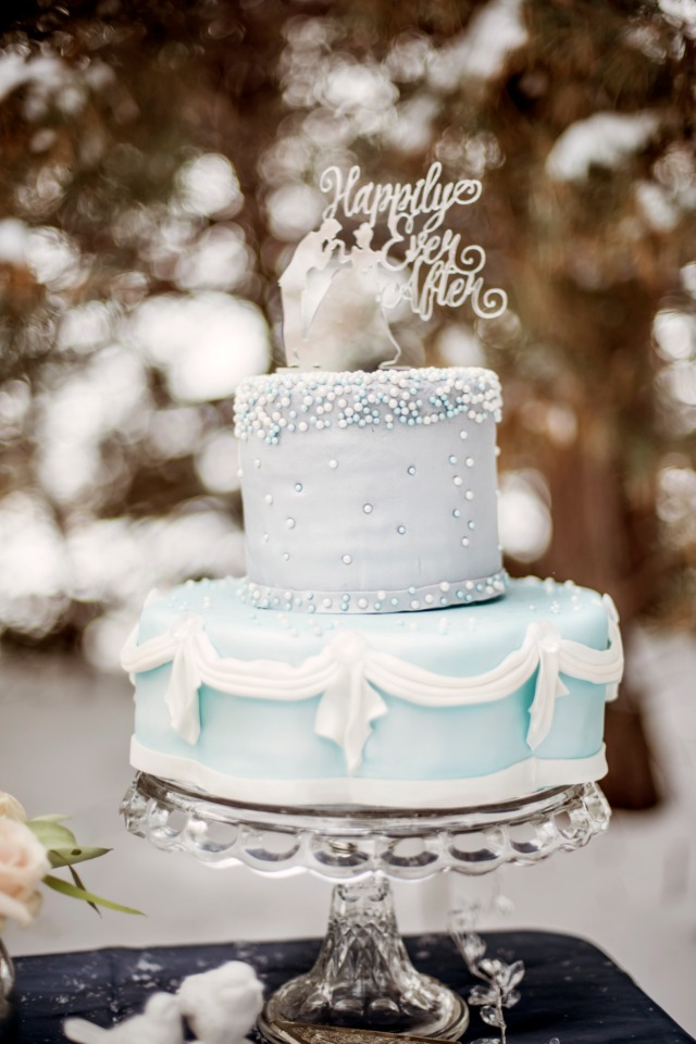fairytale wedding cake in blue and silver