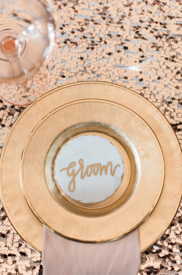Sweetheart table place setting for the groom