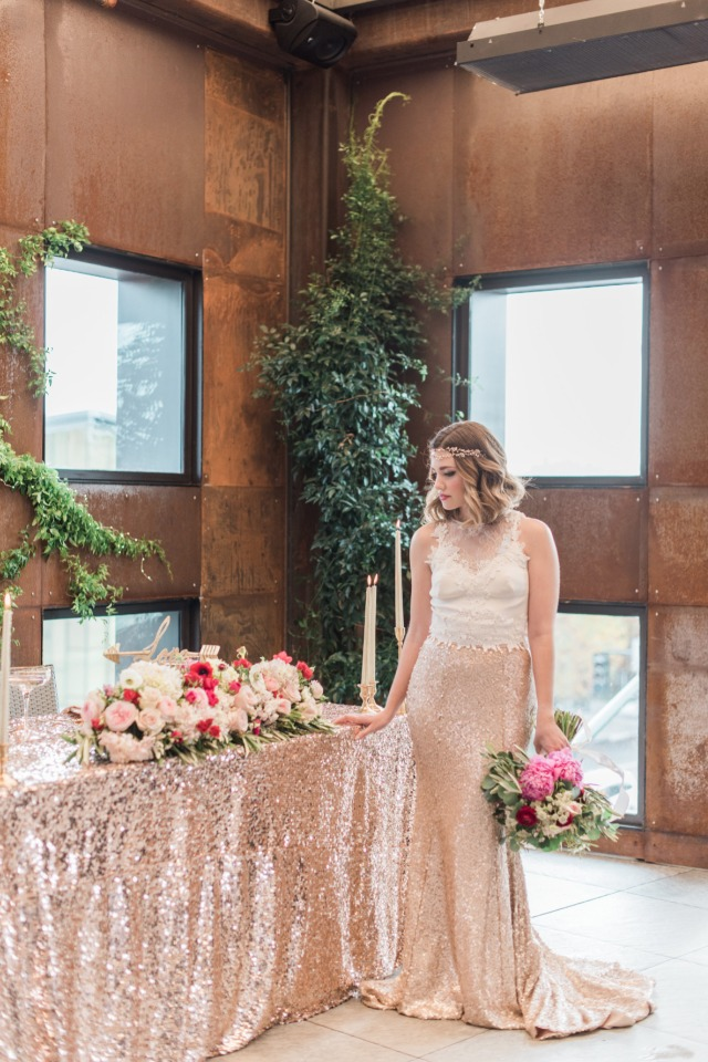 Sweetheart table with rose gold table cloth