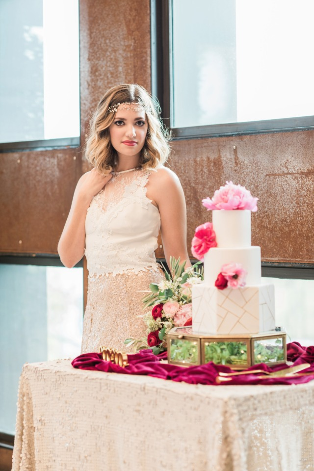 Pretty bride and cake