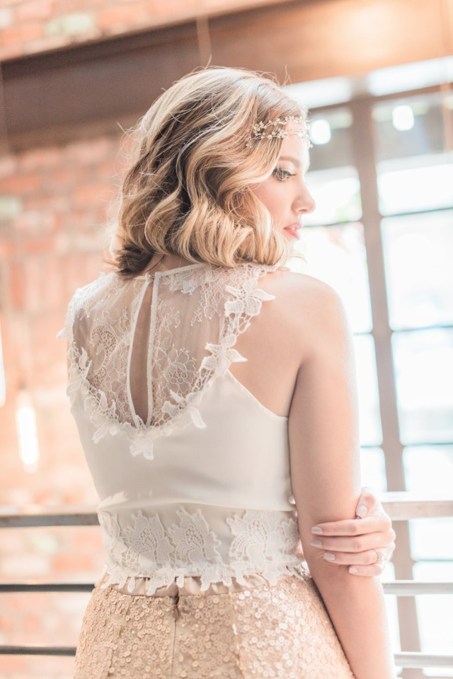 Lacey back wedding dress