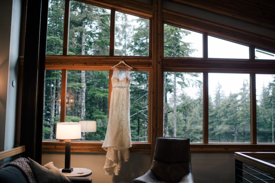 wedding dress in the woods