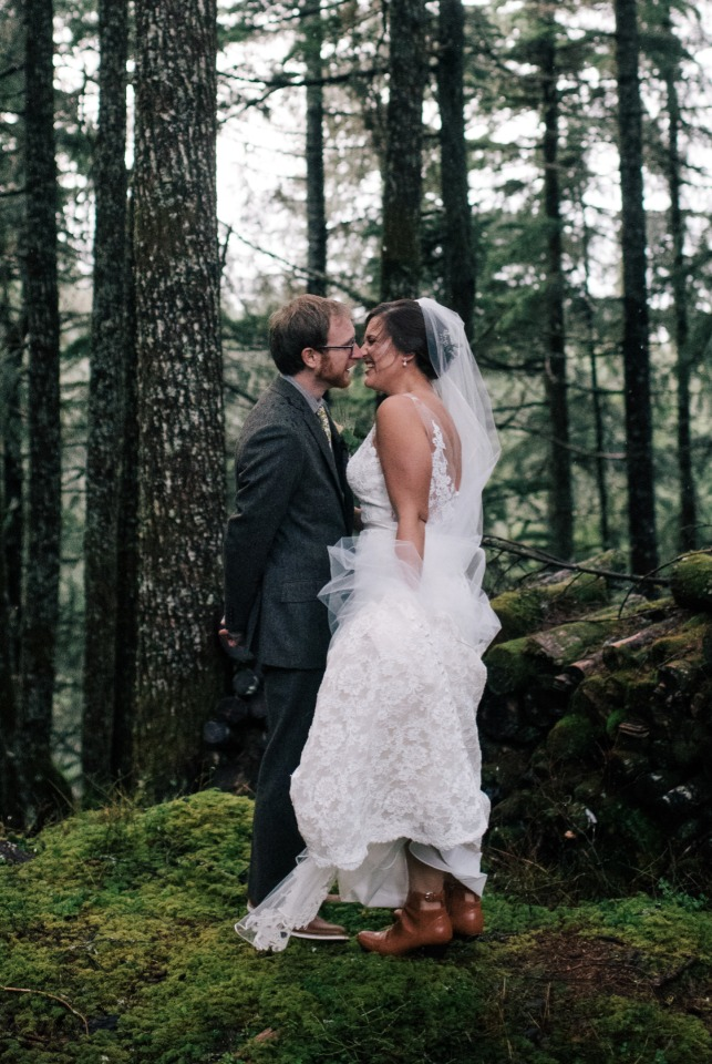 bride and groom forest wedding portraits