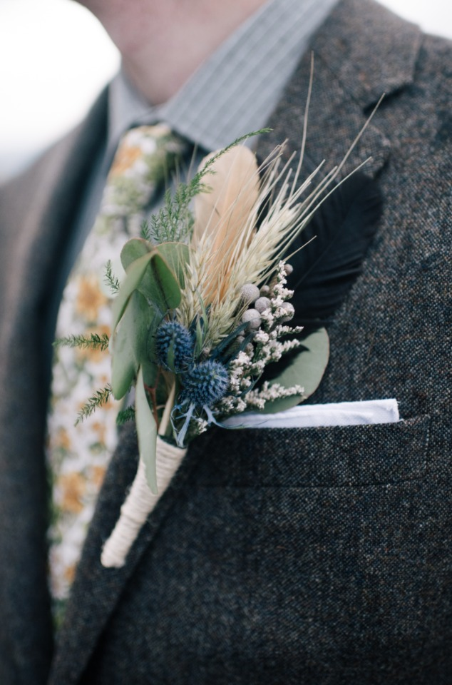 boutonniere with feathers