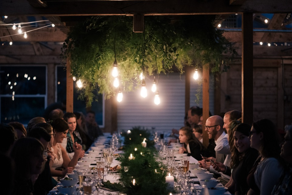 glowing family style wedding table