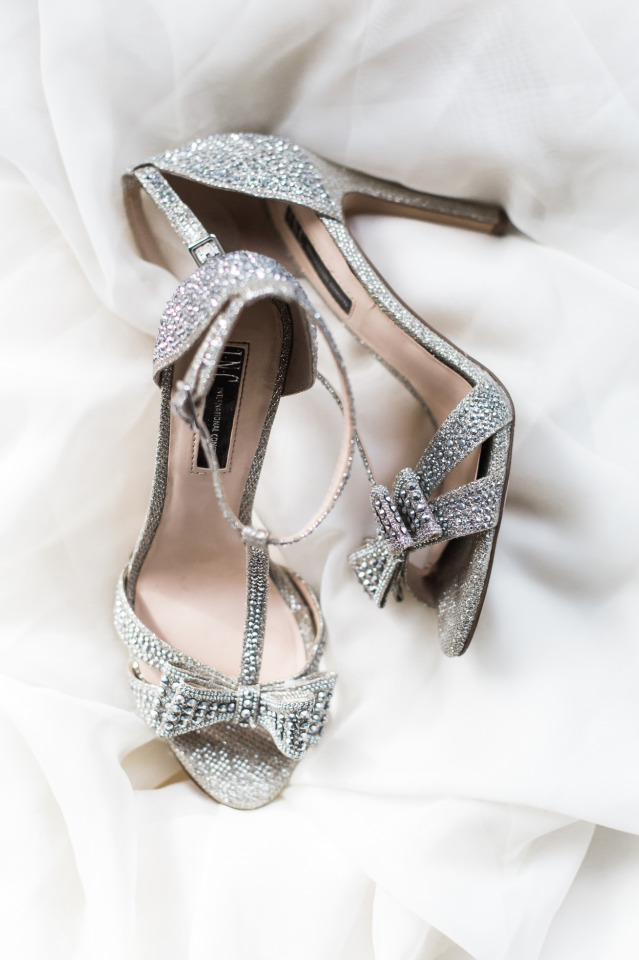 glam silver wedding shoes