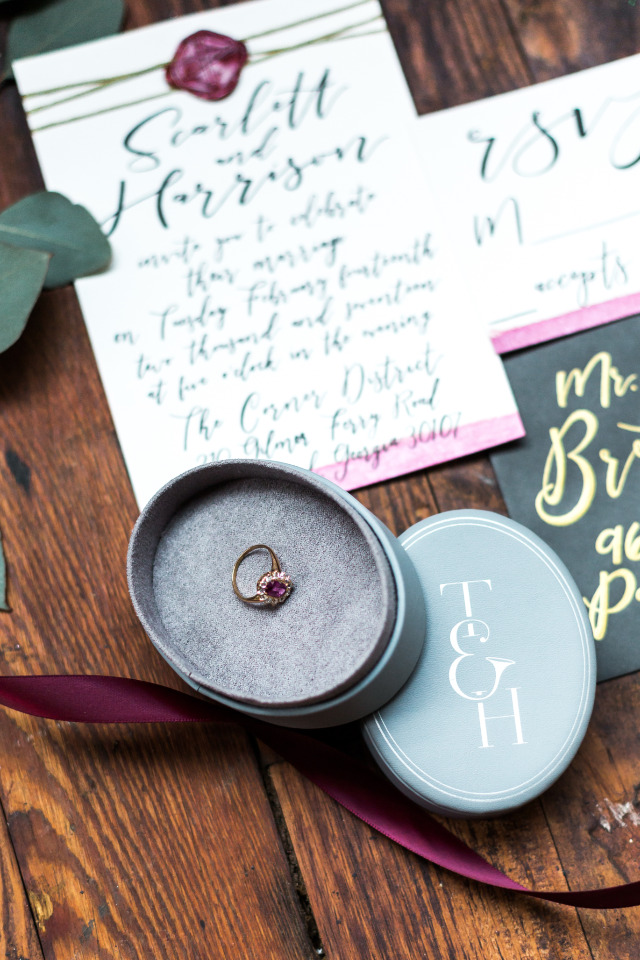wedding stationery and engagement ring