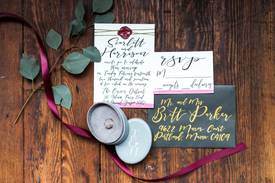 valentines day inspired wedding stationery