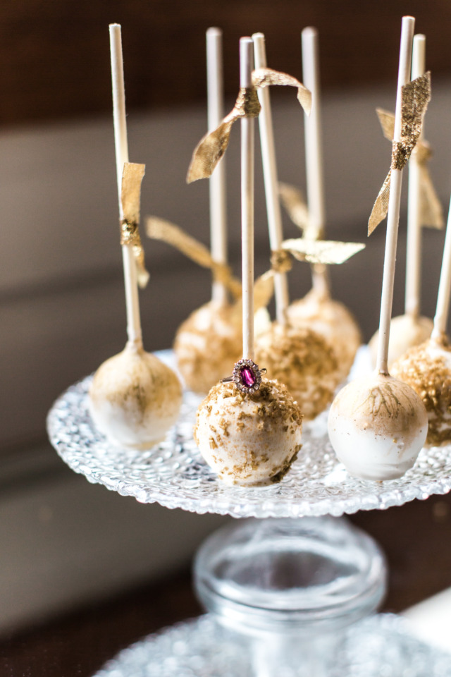 gold flaked wedding cake pops