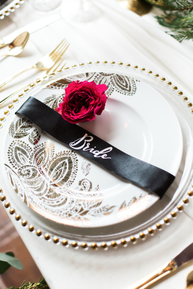 black ribbon place card for the bride