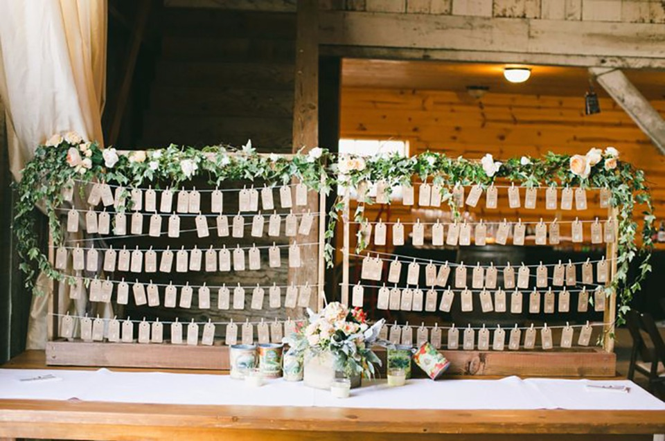 flower accented seating assignment display