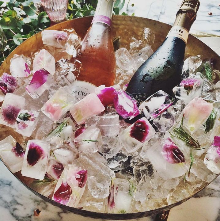 freshen up your champagne bucket with flower petal ice cubes