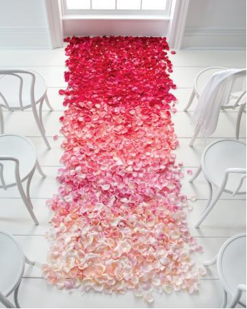 ombre flower petal aisle idea from Fifty Flowers