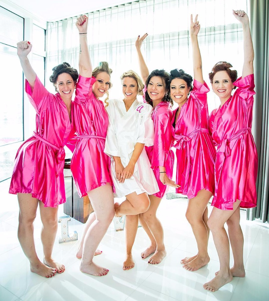 bridesmaids in hot pink robes in Las Vegas