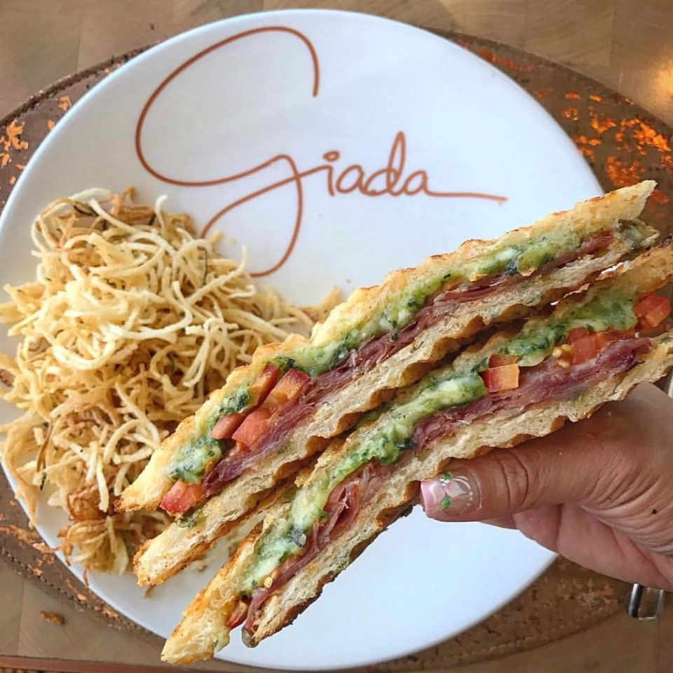 Not your average grilled cheese. Lemon pesto, cheese, heirloom tomatoes & Prosciutto di Parma