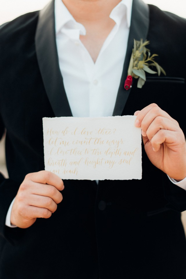 Handwritten vows card