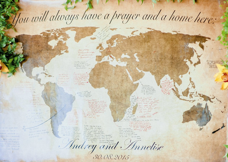 have your guests sign a world map