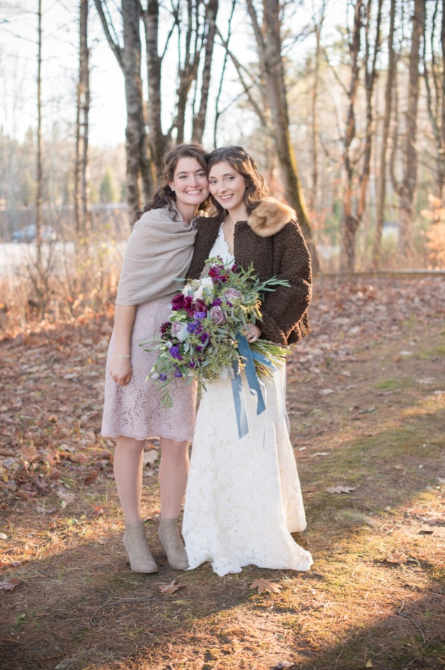 fall style bride and bridesmaid