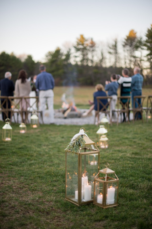 candle lit lantern wedding aisle
