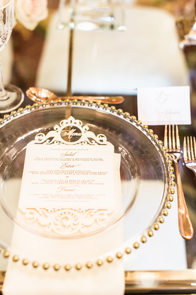 gold and clear wedding charger and menu